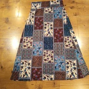 Agnes & Dora Womens Maxi Skirt Boho Print sz XL
